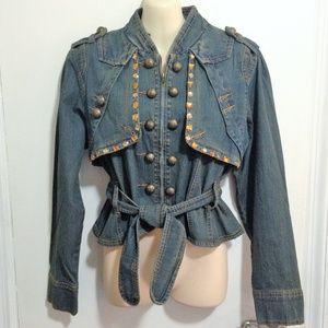 B.B. Jeans Denim Jacket Sz XL Belted  Embellished